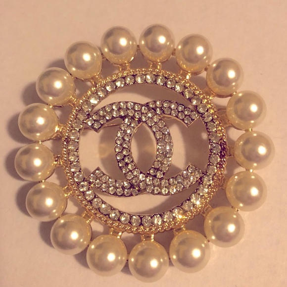 Gold and Pearl Chanel Brooch